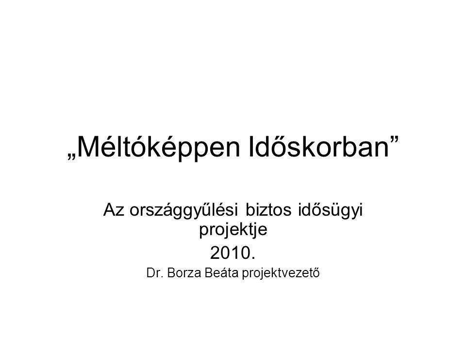 """""""Méltóképpen Időskorban Az országgyűlési biztos idősügyi projektje 2010."""
