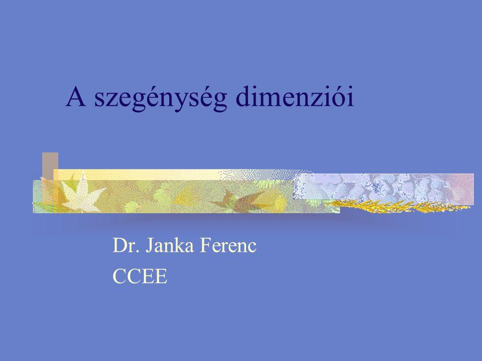 A szegénység dimenziói Dr. Janka Ferenc CCEE