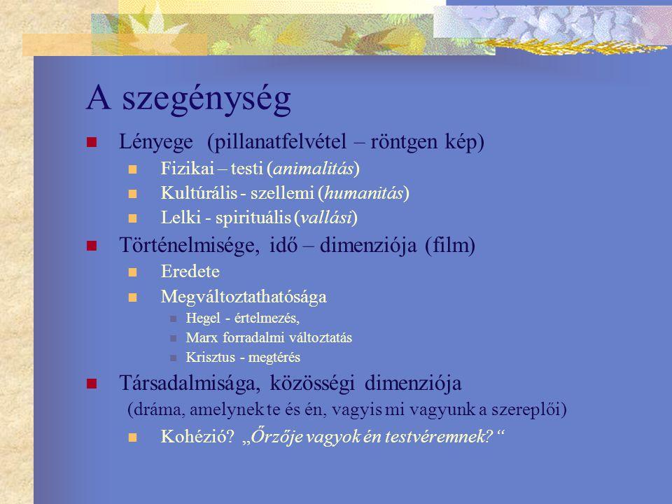 A szegénység Lényege (pillanatfelvétel – röntgen kép) Fizikai – testi (animalitás) Kultúrális - szellemi (humanitás) Lelki - spirituális (vallási) Tör