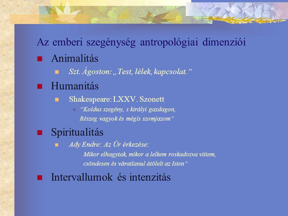"""Az emberi szegénység antropológiai dimenziói Animalitás Szt. Ágoston: """"Test, lélek, kapcsolat."""" Humanitás Shakespeare: LXXV. Szonett """"Koldus szegény,"""