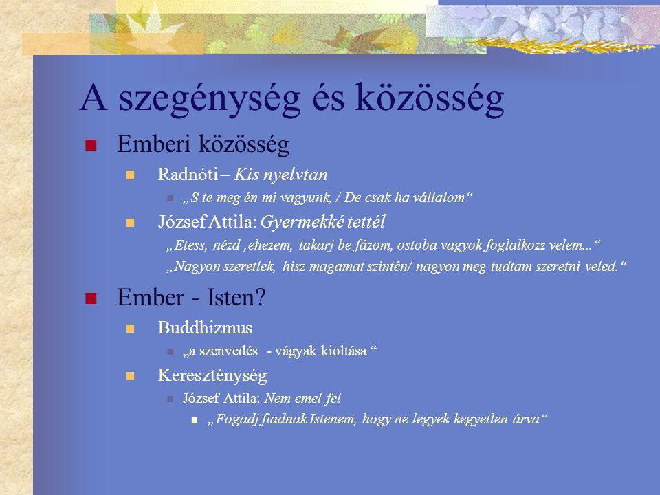 """A szegénység és közösség Emberi közösség Radnóti – Kis nyelvtan """"S te meg én mi vagyunk, / De csak ha vállalom"""" József Attila: Gyermekké tettél """"Etess"""