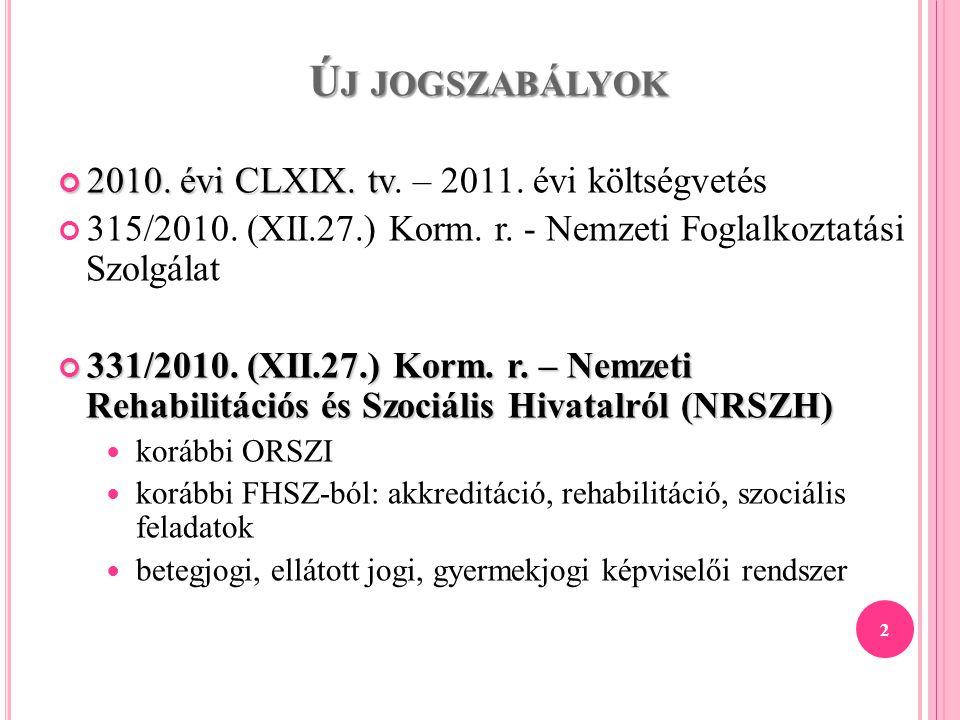 Ú J JOGSZABÁLYOK 2010. évi CLXIX. tv 2010. évi CLXIX. tv. – 2011. évi költségvetés 315/2010. (XII.27.) Korm. r. - Nemzeti Foglalkoztatási Szolgálat 33