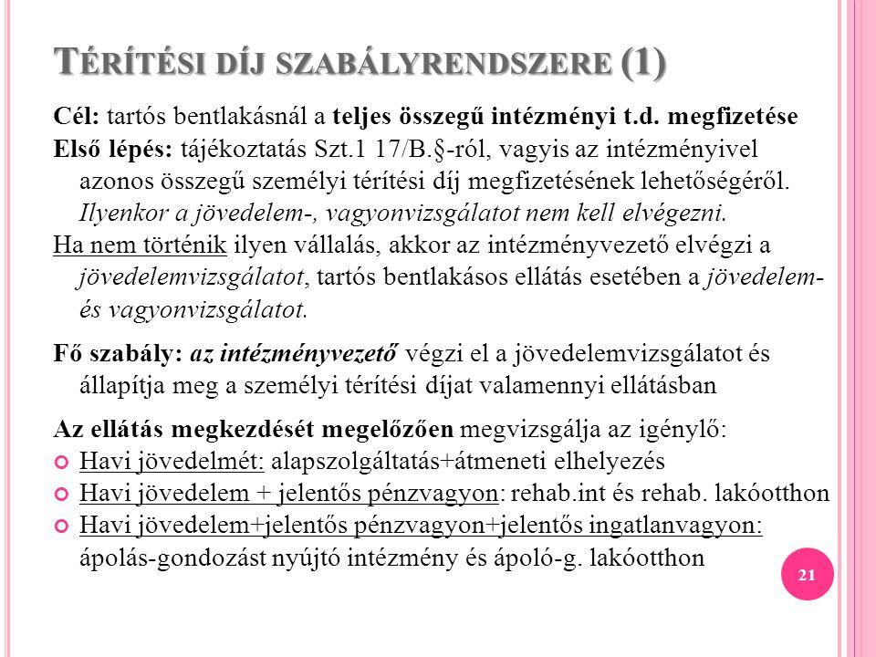 T ÉRÍTÉSI DÍJ SZABÁLYRENDSZERE (1) Cél: tartós bentlakásnál a teljes összegű intézményi t.d. megfizetése Első lépés: tájékoztatás Szt.1 17/B.§-ról, va