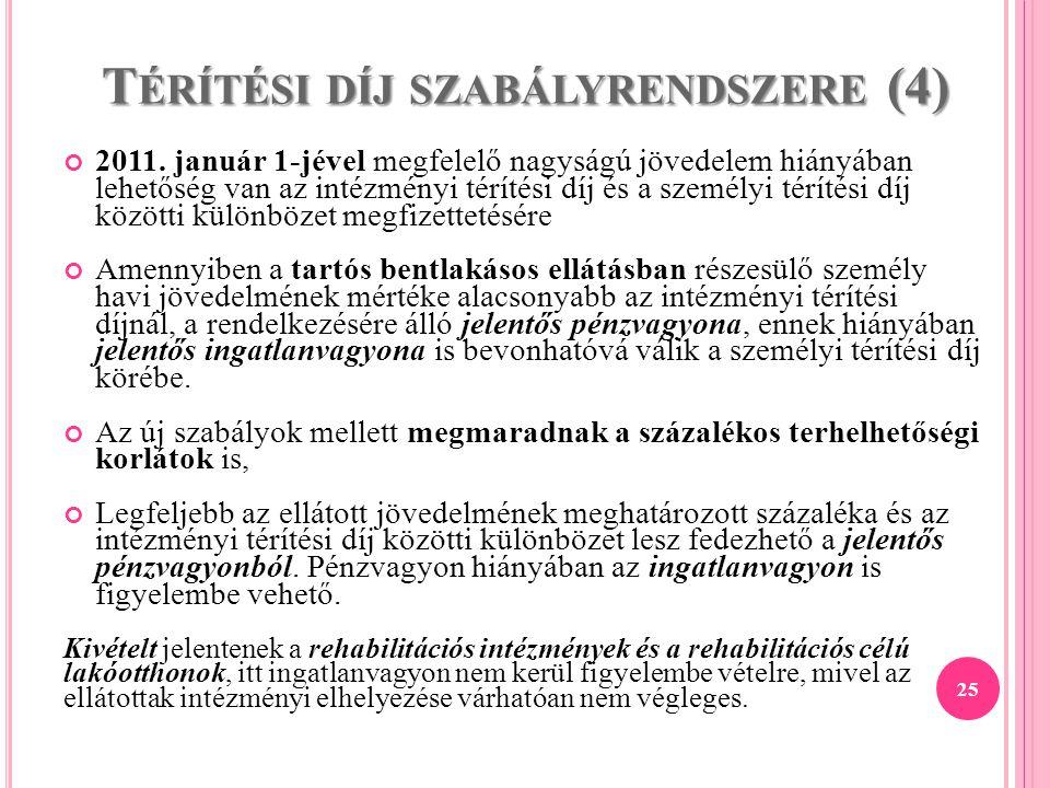 T ÉRÍTÉSI DÍJ SZABÁLYRENDSZERE (4) 2011. január 1-jével megfelelő nagyságú jövedelem hiányában lehetőség van az intézményi térítési díj és a személyi