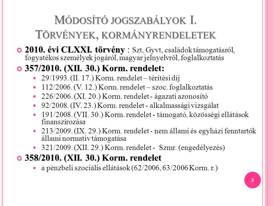 M ÓDOSÍTÓ JOGSZABÁLYOK I. T ÖRVÉNYEK, KORMÁNYRENDELETEK 2010. évi CLXXI. törvény 2010. évi CLXXI. törvény : Szt, Gyvt, családok támogatásról, fogyaték