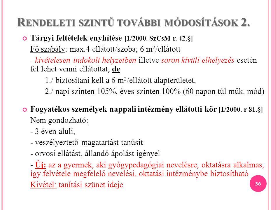 R ENDELETI SZINTŰ TOVÁBBI MÓDOSÍTÁSOK 2. Tárgyi feltételek enyhítése [1/2000. SzCsM r. 42.§] Fő szabály: max.4 ellátott/szoba; 6 m 2 /ellátott - kivét
