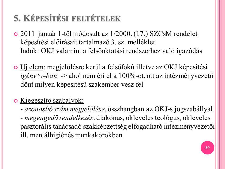 5. K ÉPESÍTÉSI FELTÉTELEK 2011. január 1-től módosult az 1/2000. (I.7.) SZCsM rendelet képesítési előírásait tartalmazó 3. sz. melléklet Indok: OKJ va