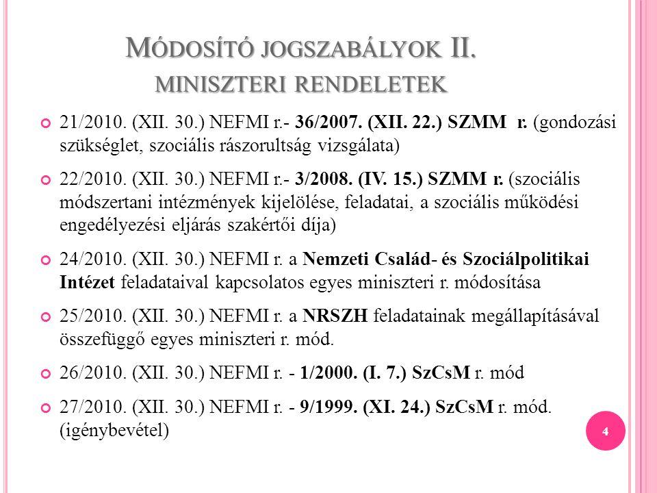M ÓDOSÍTÓ JOGSZABÁLYOK II. MINISZTERI RENDELETEK 21/2010. (XII. 30.) NEFMI r.- 36/2007. (XII. 22.) SZMM r. (gondozási szükséglet, szociális rászorults