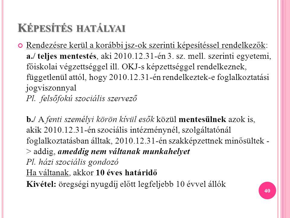 K ÉPESÍTÉS HATÁLYAI Rendezésre kerül a korábbi jsz-ok szerinti képesítéssel rendelkezők: a./ teljes mentestés, aki 2010.12.31-én 3. sz. mell. szerinti