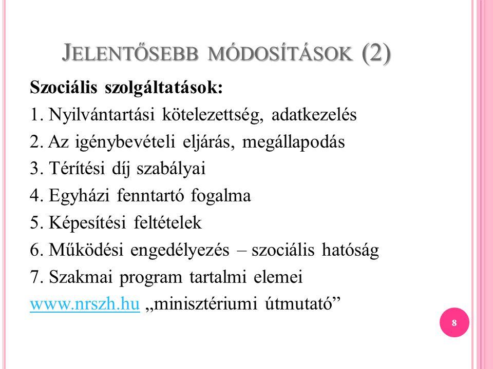 J ELENTŐSEBB MÓDOSÍTÁSOK (2) Szociális szolgáltatások: 1. Nyilvántartási kötelezettség, adatkezelés 2. Az igénybevételi eljárás, megállapodás 3. Térít