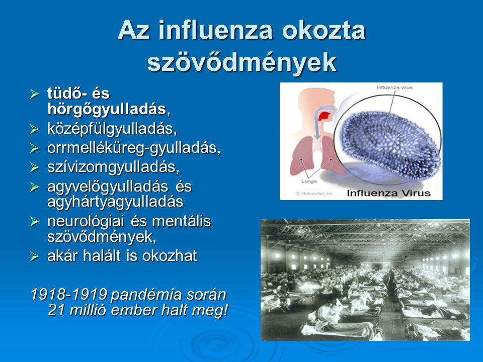 Az influenza okozta szövődmények  tüdő- és hörgőgyulladás,  középfülgyulladás,  orrmelléküreg-gyulladás,  szívizomgyulladás,  agyvelőgyulladás és agyhártyagyulladás  neurológiai és mentális szövődmények,  akár halált is okozhat 1918-1919 pandémia során 21 millió ember halt meg!
