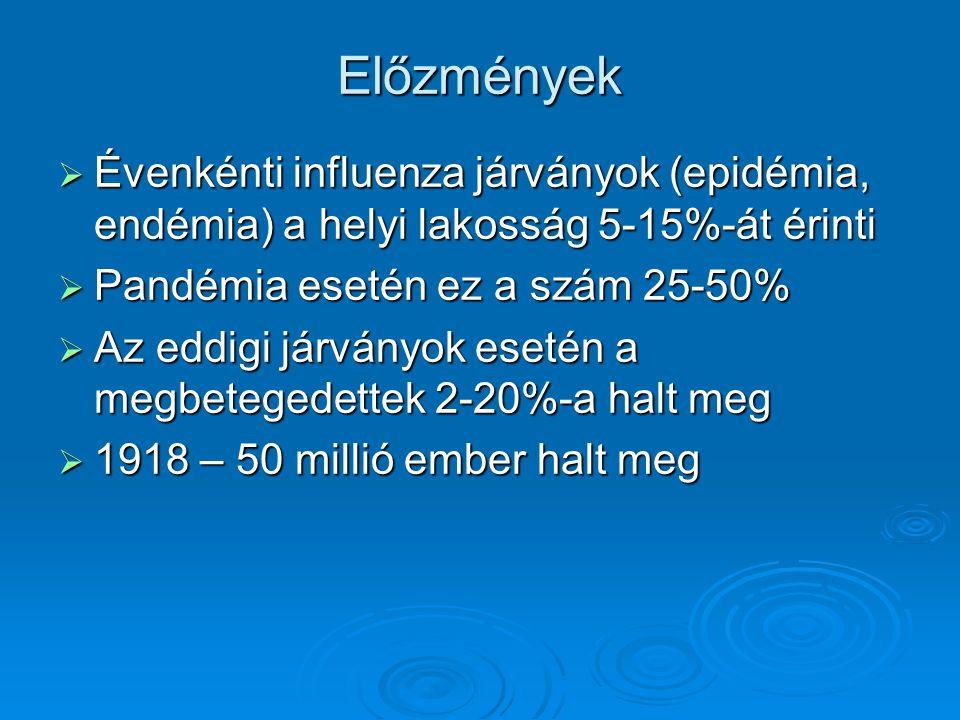 Előzmények  Évenkénti influenza járványok (epidémia, endémia) a helyi lakosság 5-15%-át érinti  Pandémia esetén ez a szám 25-50%  Az eddigi járvány