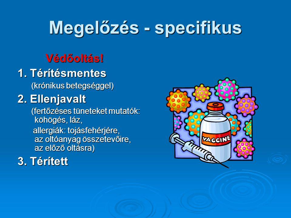 Megelőzés - specifikus Védőoltás! Védőoltás! 1. Térítésmentes (krónikus betegséggel) (krónikus betegséggel) 2. Ellenjavalt (fertőzéses tüneteket mutat