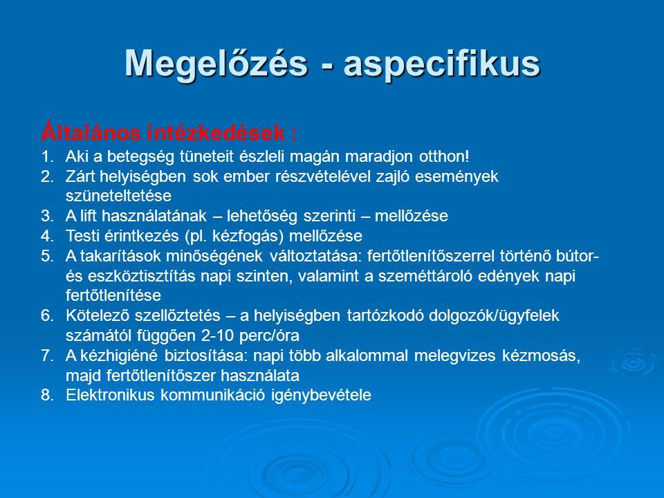 Megelőzés - aspecifikus Általános intézkedések : 1.Aki a betegség tüneteit észleli magán maradjon otthon! 2.Zárt helyiségben sok ember részvételével z