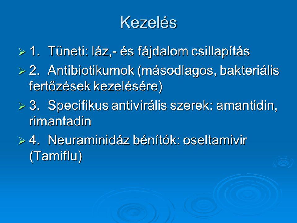 Kezelés  1.Tüneti: láz,- és fájdalom csillapítás  2.Antibiotikumok (másodlagos, bakteriális fertőzések kezelésére)  3.Specifikus antivirális szerek: amantidin, rimantadin  4.Neuraminidáz bénítók: oseltamivir (Tamiflu)