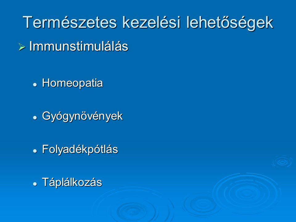 Természetes kezelési lehetőségek  Immunstimulálás Homeopatia Homeopatia Gyógynövények Gyógynövények Folyadékpótlás Folyadékpótlás Táplálkozás Táplálk