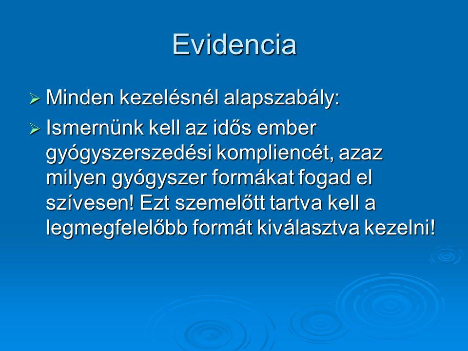 Evidencia  Minden kezelésnél alapszabály:  Ismernünk kell az idős ember gyógyszerszedési kompliencét, azaz milyen gyógyszer formákat fogad el szíves