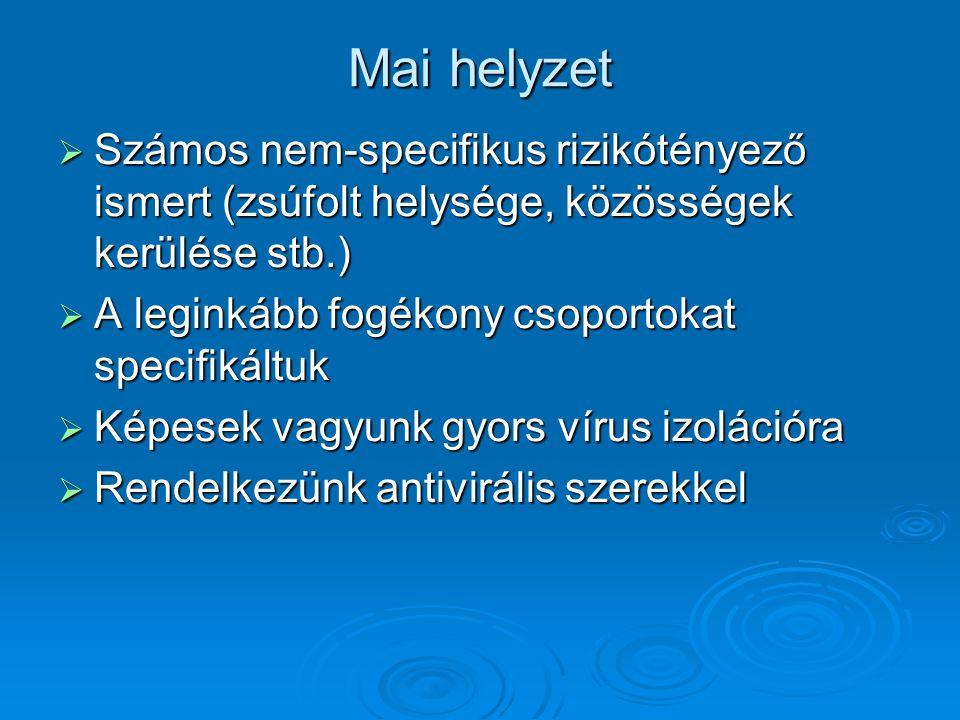 Mai helyzet  Számos nem-specifikus rizikótényező ismert (zsúfolt helysége, közösségek kerülése stb.)  A leginkább fogékony csoportokat specifikáltuk  Képesek vagyunk gyors vírus izolációra  Rendelkezünk antivirális szerekkel