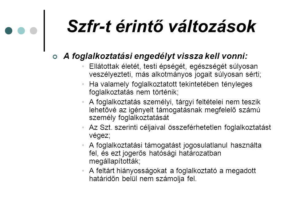 Szfr-t érintő változások Szociális foglalkoztatási engedély az alábbi tevékenységekre nem adható: (Szfr.
