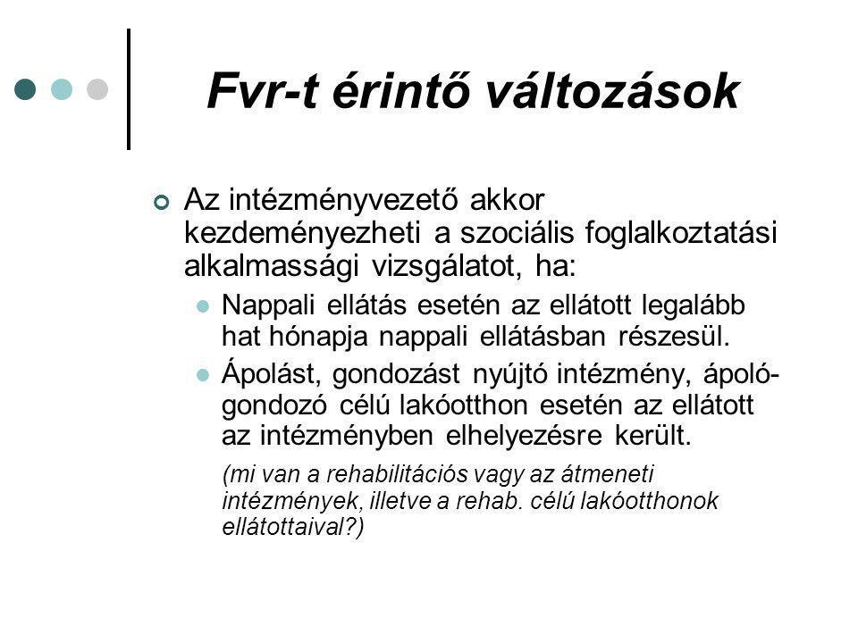 Fvr-t érintő változások Le kell folytatni -többek között- a szociális foglalkoztatási felülvizsgálatot, a szociális foglalkoztatási alkalmassági vizsgálatot, a korábbi szociális foglalkoztatási felülvizsgálatot követően 10 évvel.