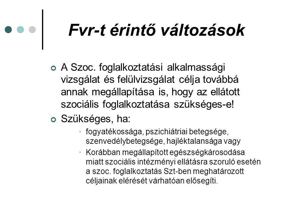 Fvr-t érintő változások Foglalkoztatható, ha a szakértői bizottság az ellátott alkalmasságát és a foglalkoztatás szükségességét is megállapítja.