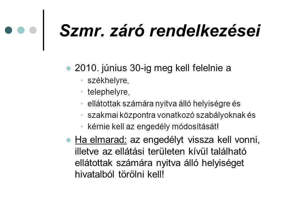 Szmr.záró rendelkezései A működést engedélyező szerv feladatai: 2009.