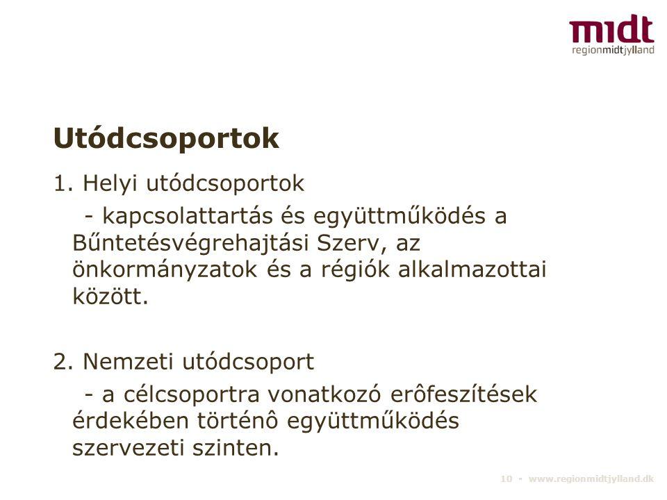 10 ▪ www.regionmidtjylland.dk Utódcsoportok 1. Helyi utódcsoportok - kapcsolattartás és együttműködés a Bűntetésvégrehajtási Szerv, az önkormányzatok