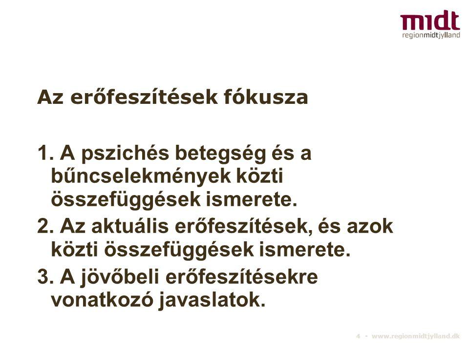 4 ▪ www.regionmidtjylland.dk Az erőfeszítések fókusza 1. A pszichés betegség és a bűncselekmények közti összefüggések ismerete. 2. Az aktuális erőfesz