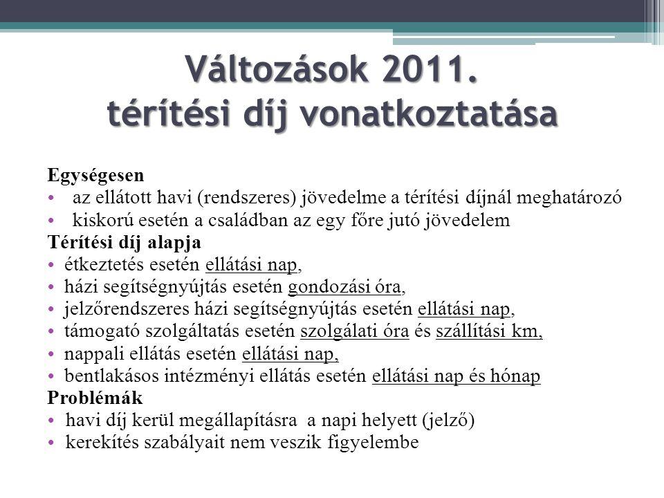 Változások 2011. térítési díj vonatkoztatása Egységesen az ellátott havi (rendszeres) jövedelme a térítési díjnál meghatározó kiskorú esetén a családb