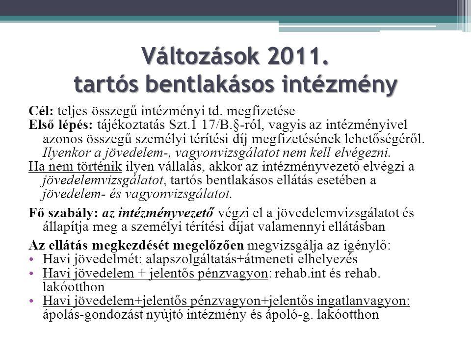 Változások 2011. tartós bentlakásos intézmény Cél: teljes összegű intézményi td. megfizetése Első lépés: tájékoztatás Szt.1 17/B.§-ról, vagyis az inté