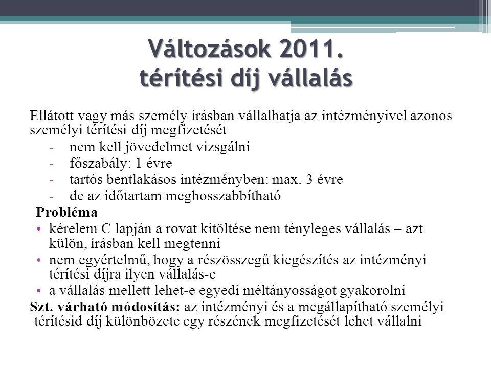Változások 2011. térítési díj vállalás Ellátott vagy más személy írásban vállalhatja az intézményivel azonos személyi térítési díj megfizetését -nem k
