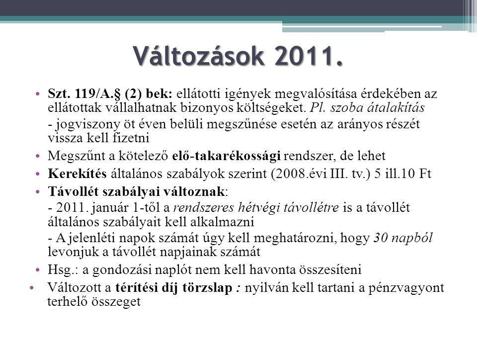 Változások 2011. Szt. 119/A.§ (2) bek: ellátotti igények megvalósítása érdekében az ellátottak vállalhatnak bizonyos költségeket. Pl. szoba átalakítás