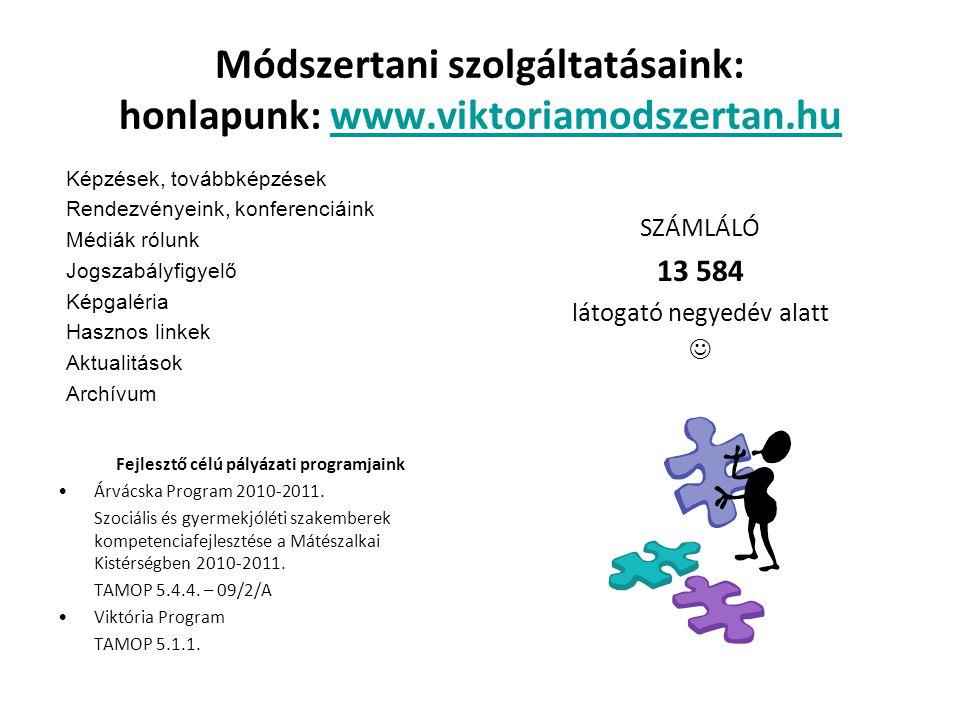 Módszertani szolgáltatásaink: honlapunk: www.viktoriamodszertan.huwww.viktoriamodszertan.hu Képzések, továbbképzések Rendezvényeink, konferenciáink Mé