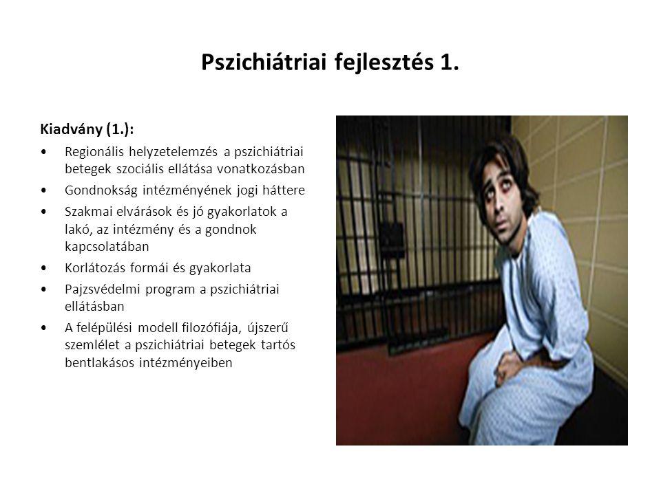 Pszichiátriai fejlesztés 1. Kiadvány (1.): Regionális helyzetelemzés a pszichiátriai betegek szociális ellátása vonatkozásban Gondnokság intézményének