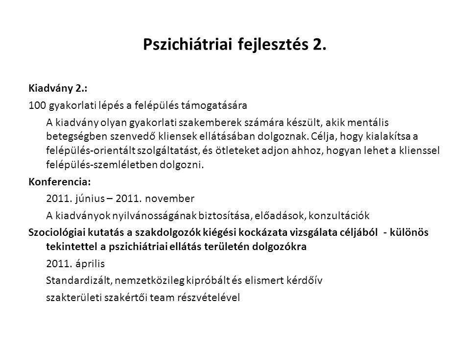 Pszichiátriai fejlesztés 2. Kiadvány 2.: 100 gyakorlati lépés a felépülés támogatására A kiadvány olyan gyakorlati szakemberek számára készült, akik m