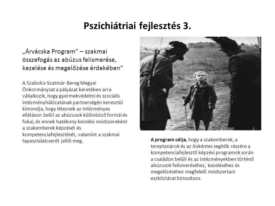 """Pszichiátriai fejlesztés 3. """"Árvácska Program"""" – szakmai összefogás az abúzus felismerése, kezelése és megelőzése érdekében"""" A Szabolcs-Szatmár-Bereg"""