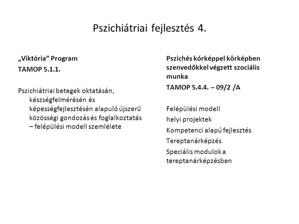"""Pszichiátriai fejlesztés 4. """"Viktória"""" Program TAMOP 5.1.1. Pszichiátriai betegek oktatásán, készségfelmérésén és képességfejlesztésén alapuló újszerű"""