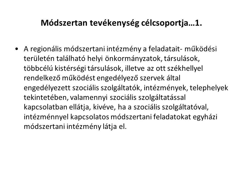 Módszertan tevékenység célcsoportja…1. A regionális módszertani intézmény a feladatait- működési területén található helyi önkormányzatok, társulások,