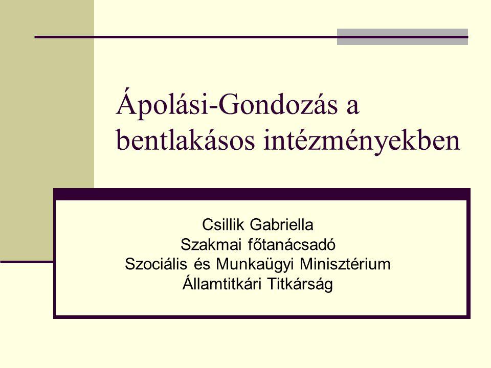 Ápolási-Gondozás a bentlakásos intézményekben Csillik Gabriella Szakmai főtanácsadó Szociális és Munkaügyi Minisztérium Államtitkári Titkárság