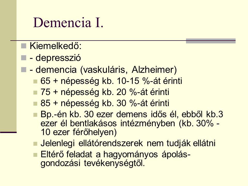 Demencia I.Kiemelkedő: - depresszió - demencia (vaskuláris, Alzheimer) 65 + népesség kb.