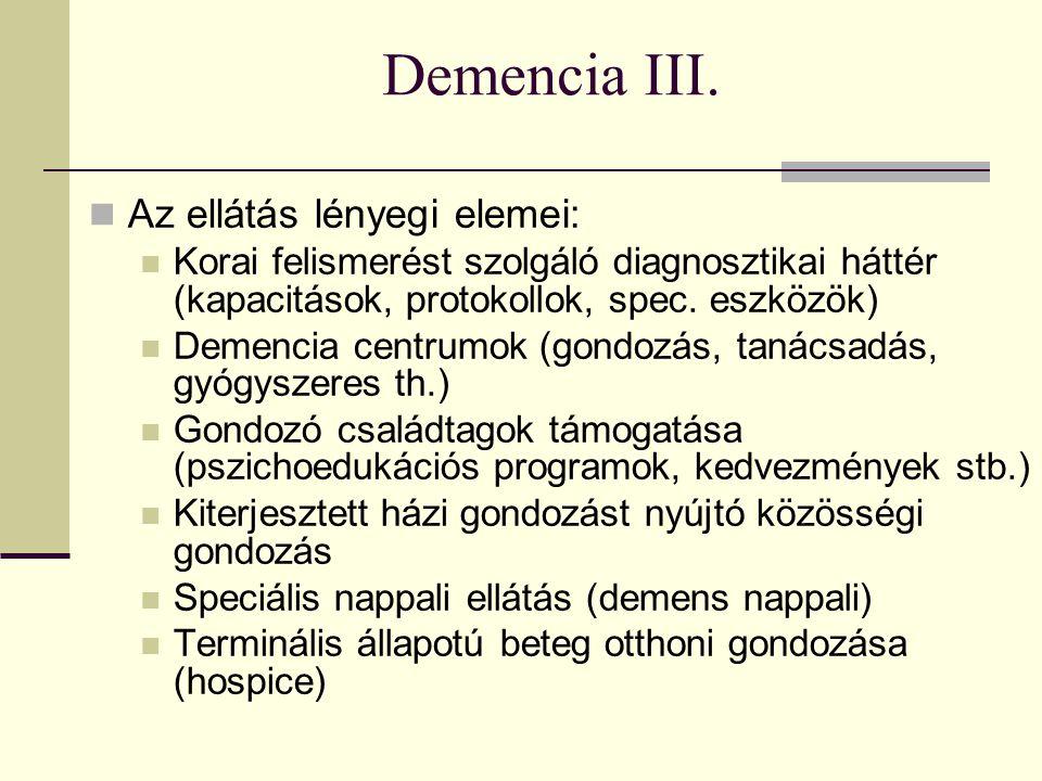 Demencia IV.Bentlakásos intézményi ellátás: Demens részleg vagy norm.