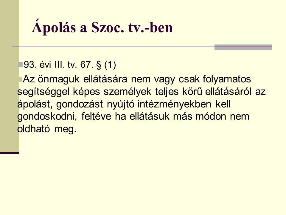 1993.évi III. tv. ➲ 68. § (1) Az idősek otthonában a 68/A.