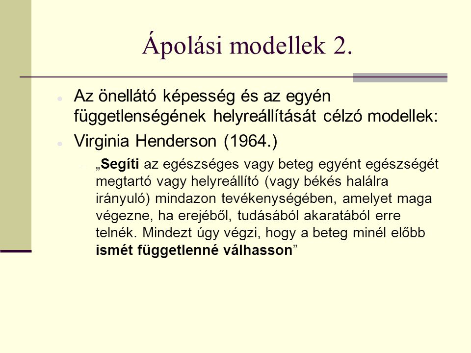 Ápolási modellek 2.