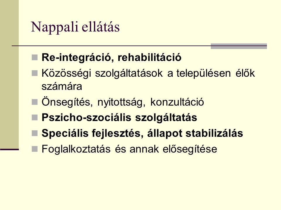 Nappali ellátás Re-integráció, rehabilitáció Közösségi szolgáltatások a településen élők számára Önsegítés, nyitottság, konzultáció Pszicho-szociális szolgáltatás Speciális fejlesztés, állapot stabilizálás Foglalkoztatás és annak elősegítése