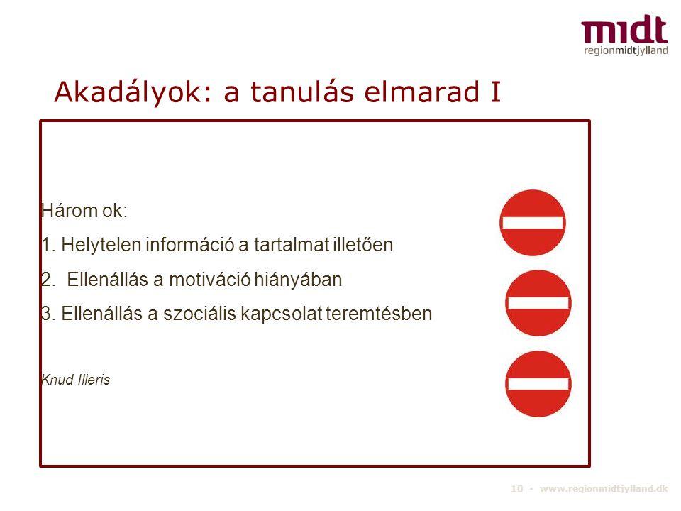 10 ▪ www.regionmidtjylland.dk Akadályok: a tanulás elmarad I Három ok: 1.