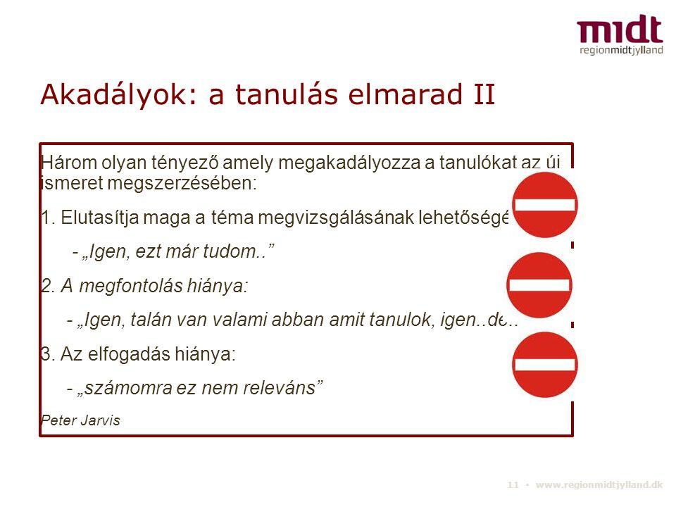 11 ▪ www.regionmidtjylland.dk Akadályok: a tanulás elmarad II Három olyan tényező amely megakadályozza a tanulókat az új ismeret megszerzésében: 1.