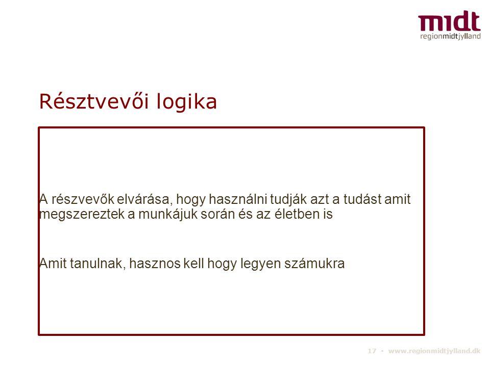 17 ▪ www.regionmidtjylland.dk Résztvevői logika A részvevők elvárása, hogy használni tudják azt a tudást amit megszereztek a munkájuk során és az életben is Amit tanulnak, hasznos kell hogy legyen számukra