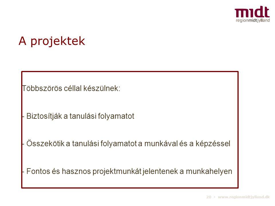20 ▪ www.regionmidtjylland.dk A projektek Többszörös céllal készülnek: - Biztosítják a tanulási folyamatot - Összekötik a tanulási folyamatot a munkával és a képzéssel - Fontos és hasznos projektmunkát jelentenek a munkahelyen