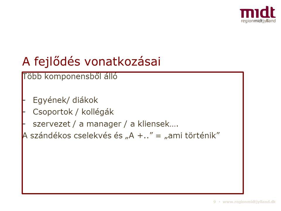 9 ▪ www.regionmidtjylland.dk A fejlődés vonatkozásai Több komponensből álló -Egyének/ diákok -Csoportok / kollégák -szervezet / a manager / a kliensek….