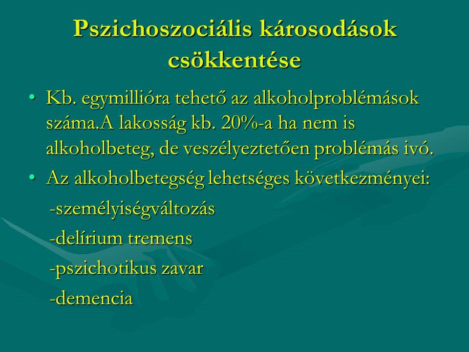 Pszichoszociális károsodások csökkentése Kb. egymillióra tehető az alkoholproblémások száma.A lakosság kb. 20%-a ha nem is alkoholbeteg, de veszélyezt